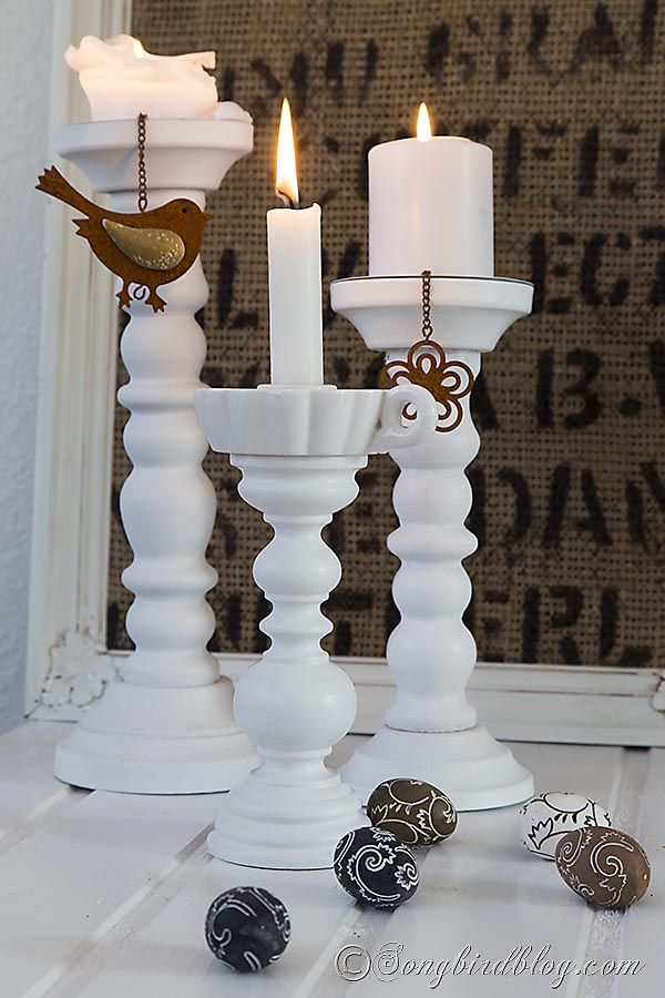 Old lamps are easy to find and dirt cheap in a thrift store. See here how to make a gorgeous wooden candle stick from the lamp stand.