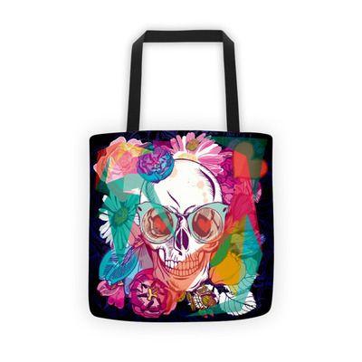 Fashion Skull Colorful Floral Women's Tote Shoulder Bags Handbags Purse
