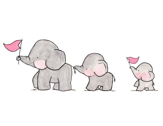 Elephants with pink flags