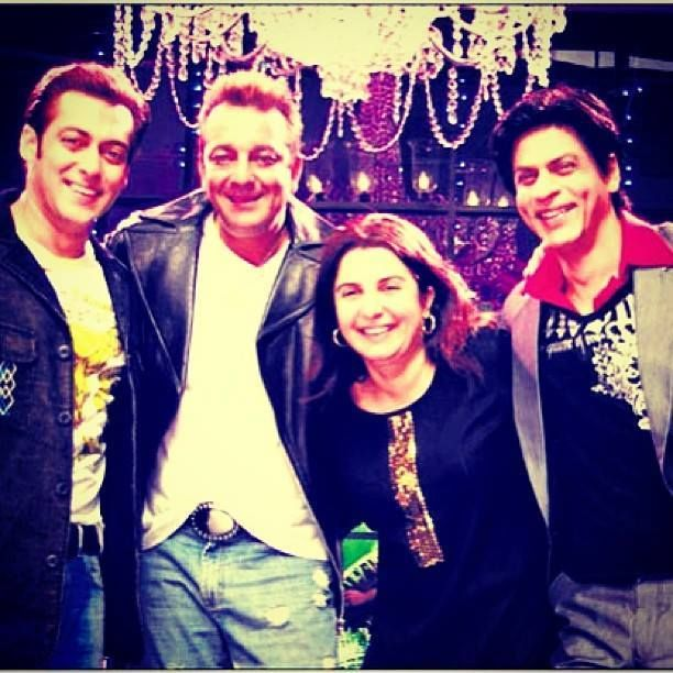 Shahrukh Khan, Salman Khan and Sanjay Dutt on the set of Om Shanti Om with director Farah Khan.
