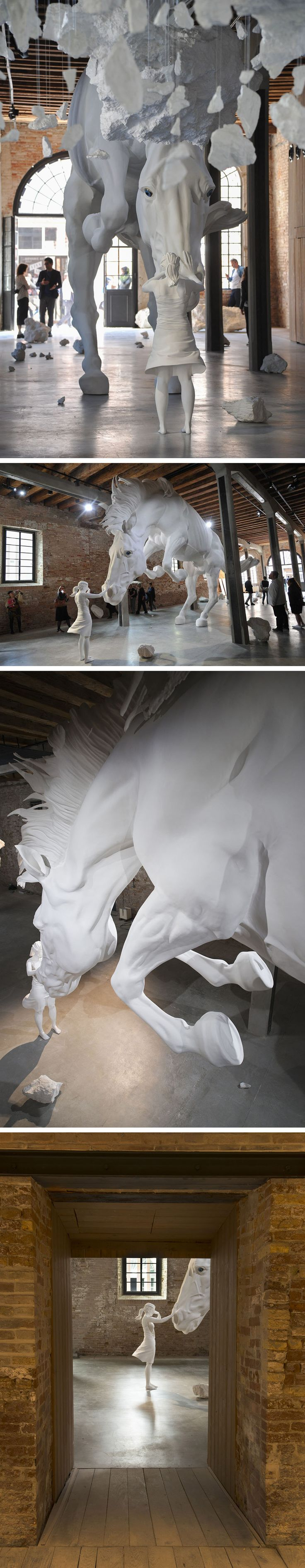 A Girl Encounters a Giant White Horse Frozen in Mid-Air Within the Venice Biennale's Argentinian Pavilion