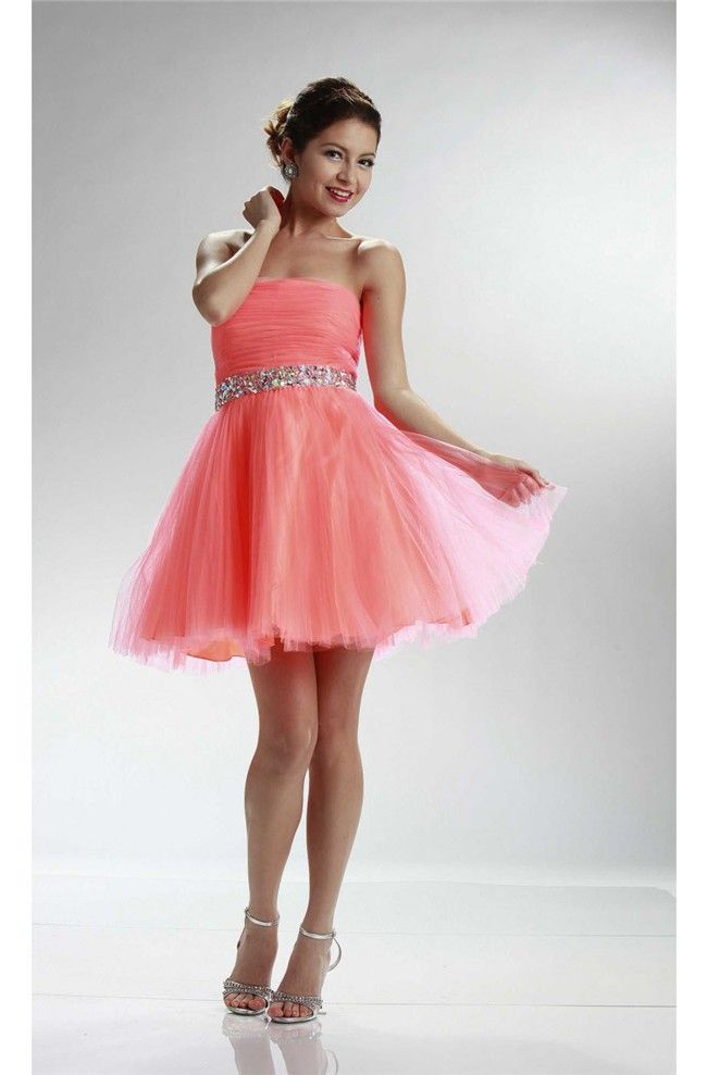 Ball Strapless Short Coral Tulle Beaded Cocktail Prom Dress
