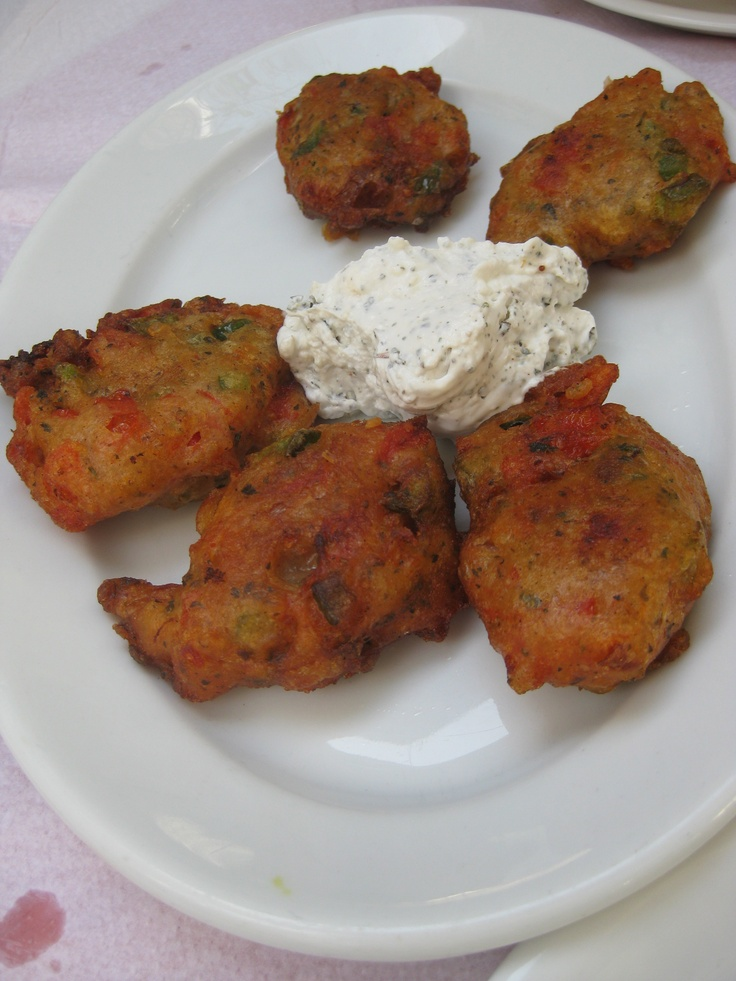 Some amazing tomato fritters with a tzatziki sauce. A specialty on the Greek Island of Siros.