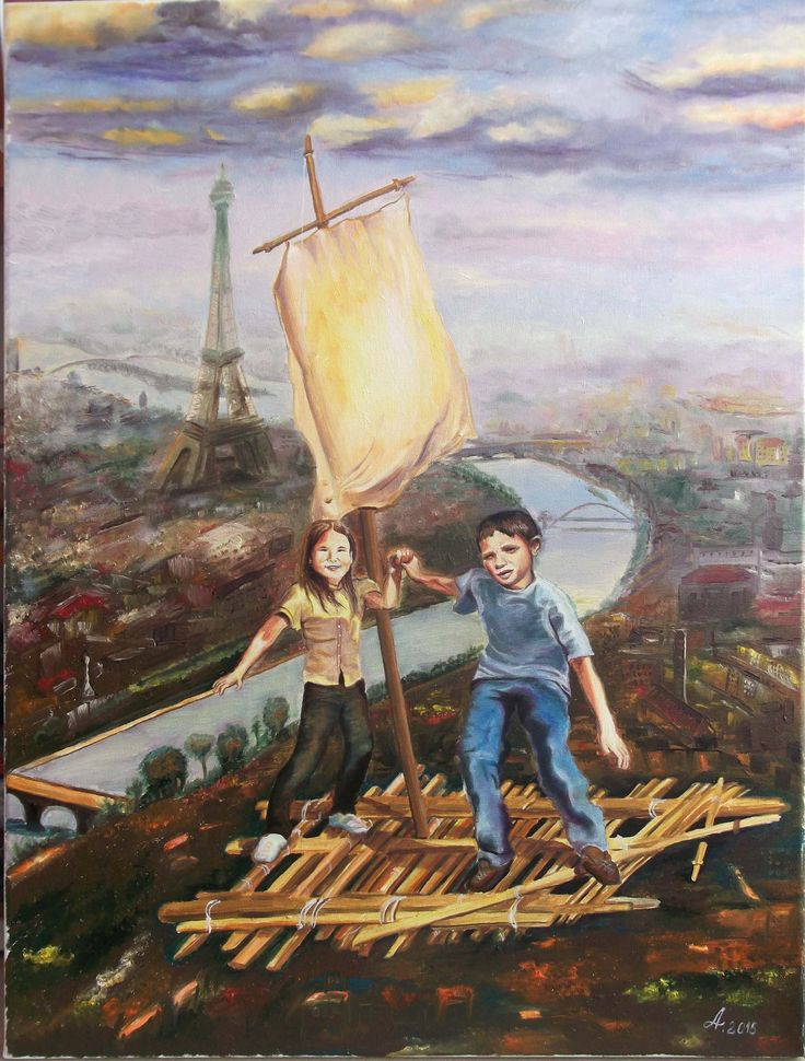 Au-dessus Paris - oil on canvas 60 x 45 cm 2015 dida_lupan@yahoo com #oil #canvas #traditional #painting #surreal #child #childhood #memory