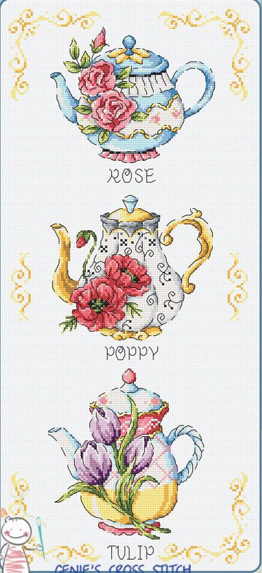 Flower Teapot - Cross stitch pattern leaflet. Big Chart. SODA SO-G87