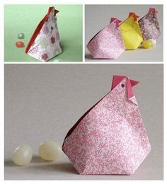 Une poule en origami vue sur le site Origami Spirit de Leila Torres http://www.origamispirit.com/2014/02/origami-hen-box/