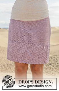"""Crochet DROPS skirt with fan pattern in """"Cotton Viscose"""" Size: S - XXXL. ~ DROPS Design"""