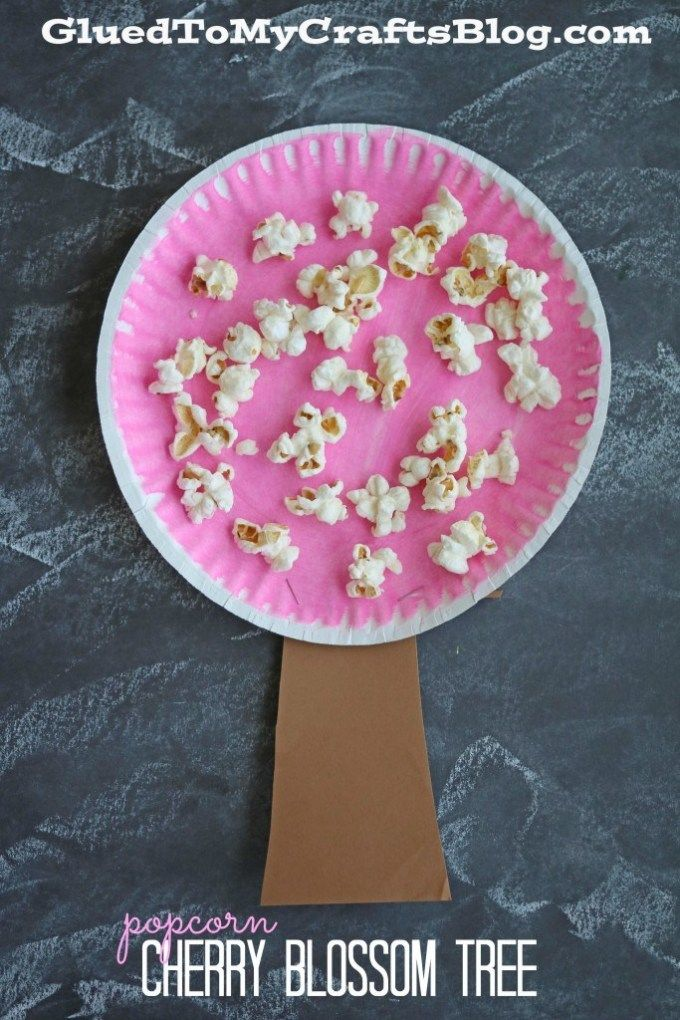 Paper Plate Popcorn Cherry Blossom Tree Kid Craft Spring Toddler Crafts April Crafts March Crafts