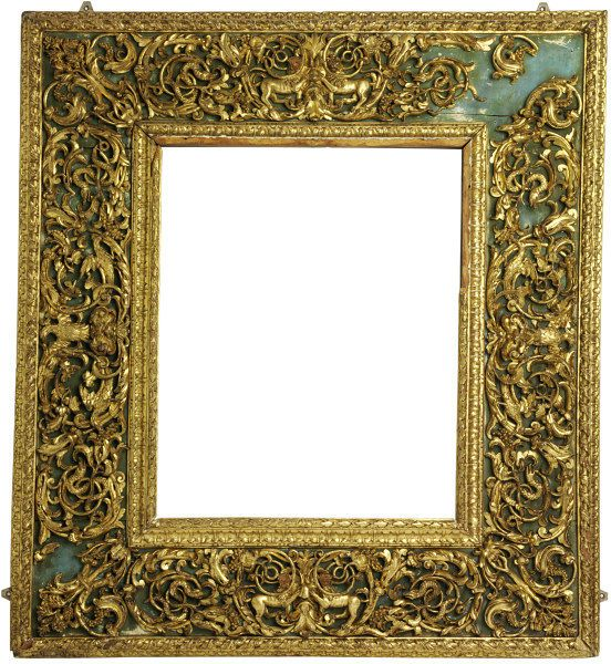 Carved and gilt cassetta frame with a raised inner frame set within a wide border of high-relief pierced naturalistic carvings.