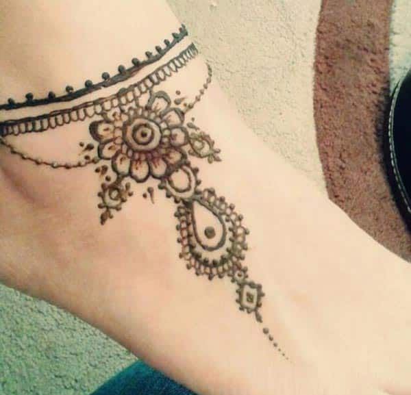Henna Mehndi tattoo designs idea for ankle
