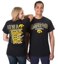 Iowa Hawkeyes 2015 Football Schedule T-Shirt!  Can be purchased at the Iowa Hawk Shop in Iowa City, IA or go to http://www.hawkshop.com/ePOS/form=shared3/gm/browse.html&cat=409