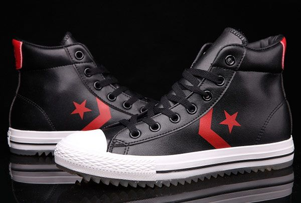 07b0d531eb All Star Black High Tops Leather Converse Padded Collar Shoes ...