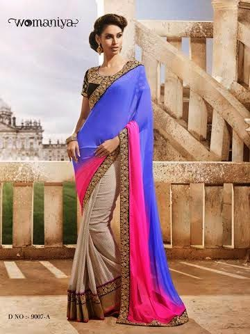 Beautifully designed Beige with Shaded Pink and Blue Georgette saree with heavy embroidery work en-crafted all over. Comes along with Contrast matching Black Blouse.