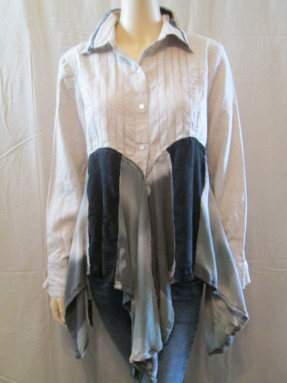Lagenlook Tunic Loose Flowing Washed Linen by bluemermaiddesigns
