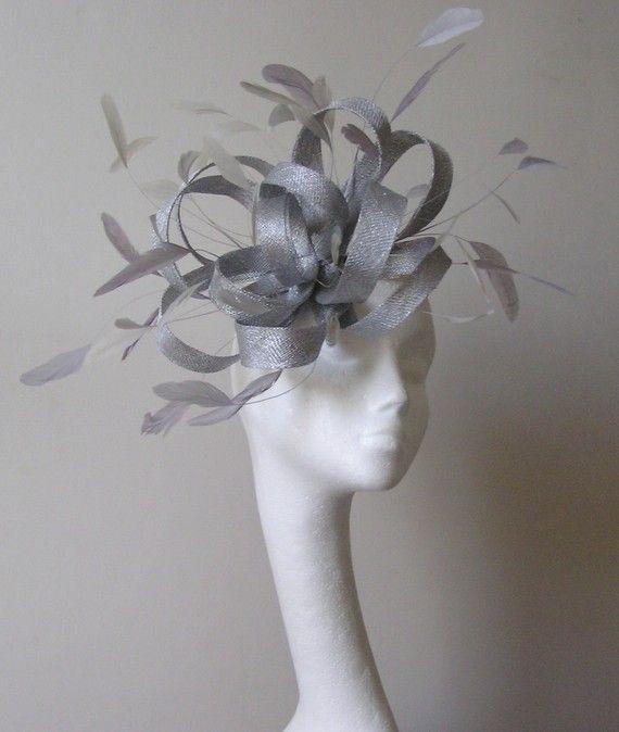 Metalic Silver Fascinator Hat for Weddings Races by Hatsbycressida, $120.00