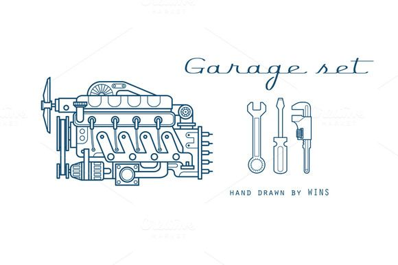 Garage set. Vector icons car parts. by WINS Doodle shop on @creativemarket