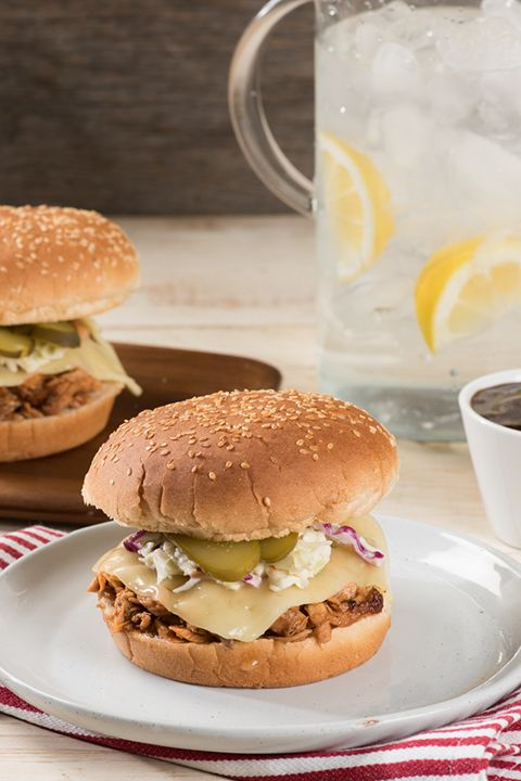 INGREDIENTS BY SAPUTO | Enjoy this delicious pulled BBQ salmon burger. Add some Armstrong Havarti cheese and homemade coleslaw to the recipe for an even tastier meal!