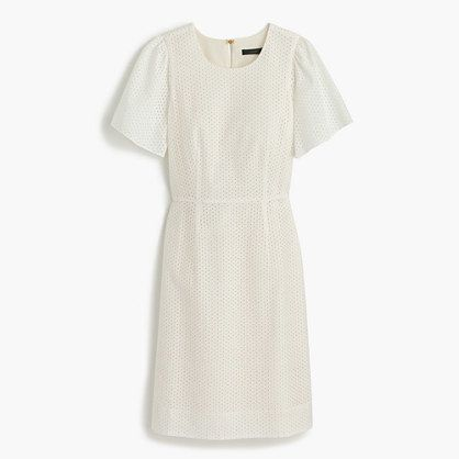 Petite flutter-sleeve dress in eyelet