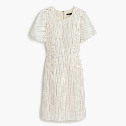 Petite flutter-sleeve dress in eyelet