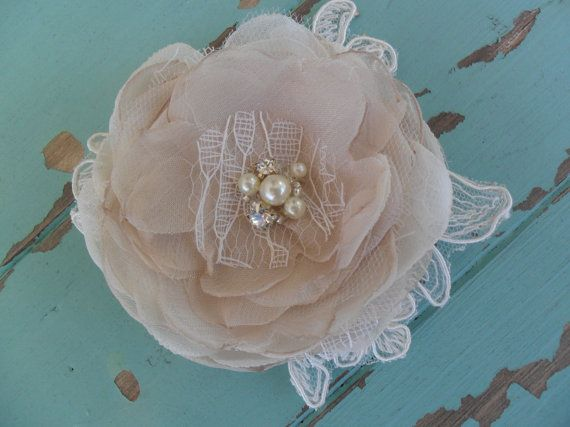 Lace Hairpiece Champagne & Ivory Hair Comb by therusticcharmer
