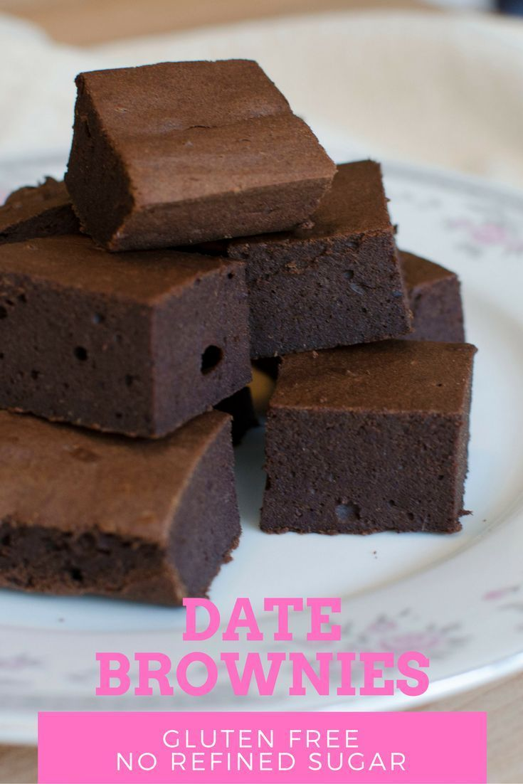 Date Brownies,these fudgy gluten free brownies are made without any sugar at all! Just some pureed dates provides them all the sweetness they need!
