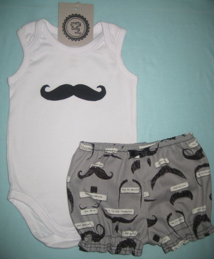 Moustache Onesie / Puffy Pants Set by PrettyBabyThings on Etsy, $30.00