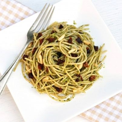 Pasta With Arugula Pesto, Sun-Dried Tomatoes, And Pine Nuts Recipes ...