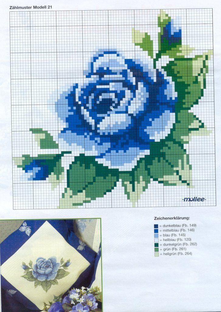 Point de Croix : Patron Fleur 8 (Bleu) dans Fleurs 080127110554178861653079