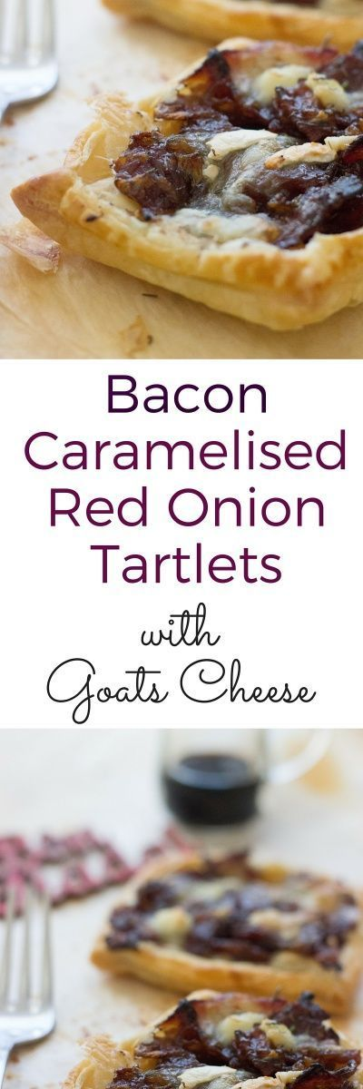 Caramelised Onion Tartlets made with Red Onion, Bacon and Goats Cheese. A super easy recipe that´s perfect for the Holidays!!