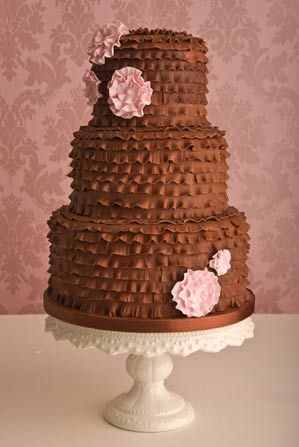 chocolate frill wedding cake