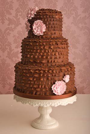 chocolate frill wedding cake