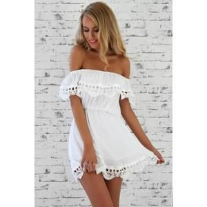 Mode femme vintage élégante dentelle douce robe blanche élégante col bateau sexy casual plage mince Summer Sundress Vestidos