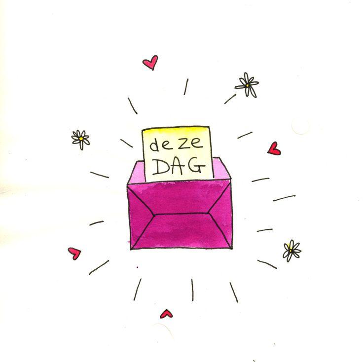 Illustratie: Cadeautje, deze dag! Gemaakt door: Jiska Clevering-Hartsuiker. Met ecoline en fineliner. Sterrig verzorgt illustratieworkshops.