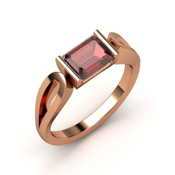 Loop de Loop Ring - This piece is a fresh take on a classic style. Partial bezel-set with emerald cut gem, the center setting is balanced between two looped ends of the band, recessed like the tear-shaped eye of a sewing needle. Contrasting right angles and curves add depth and texture to the design. Red garnet with rose gold. (ring 13 profile  view)