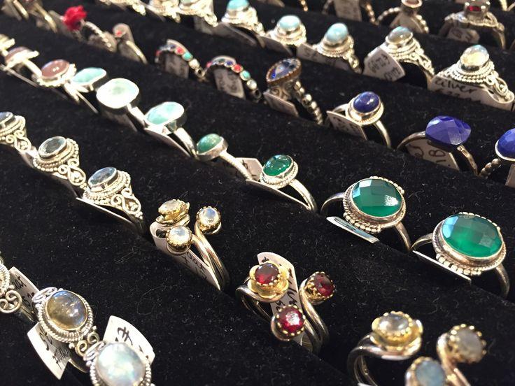 Real 925 silver rings at Tokoloco with semi precious gemstones
