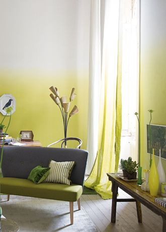 Saraille wallpaper | Designers Guild. Charcoal grey, celery green and bright jasmine yellow interior.