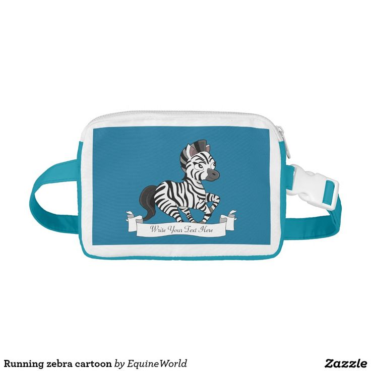 Running zebra cartoon nylon fanny pack