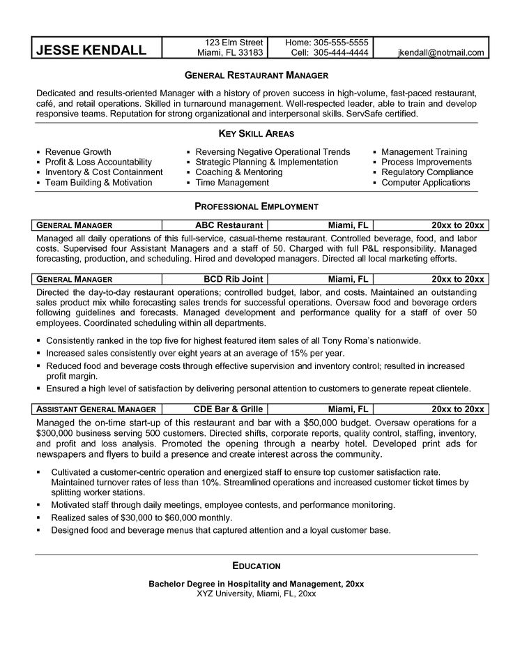 General manager resume example httpwwwresumecareer