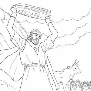 Moses, Moses Breaking The Tablets Of Law Coloring Page: Moses Breaking the Tablets of Law Coloring Page