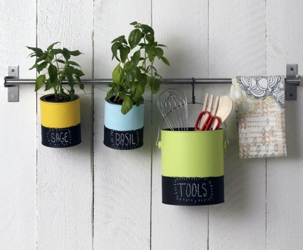 painted cans in the kitchen: Idea, Indoor Herbs, Diy Crafts, Chalkboards Paintings, Paintings Cans, Diy Organizations, Herbs Gardens, House, Tins Cans