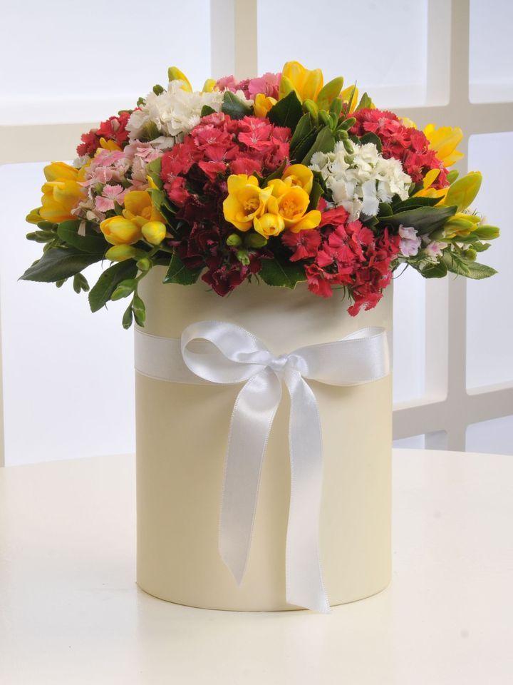 """Krem Kutuda Kır Çiçekleri AR0044 """"Krem Kutuda Kır Çiçekleri"""" Ürün İçeriği: 9 Dal Sarı Frezya 11 Dal Hüsnüyusuf 1 Adet Büyük Boy Krem Renk Silindir Kutu Sevdiklerinizi Mutlu Edin. https://www.ciceknet.com/cicek/krem-kutuda-kir-cicekleri #çiçek #çiçekçi"""