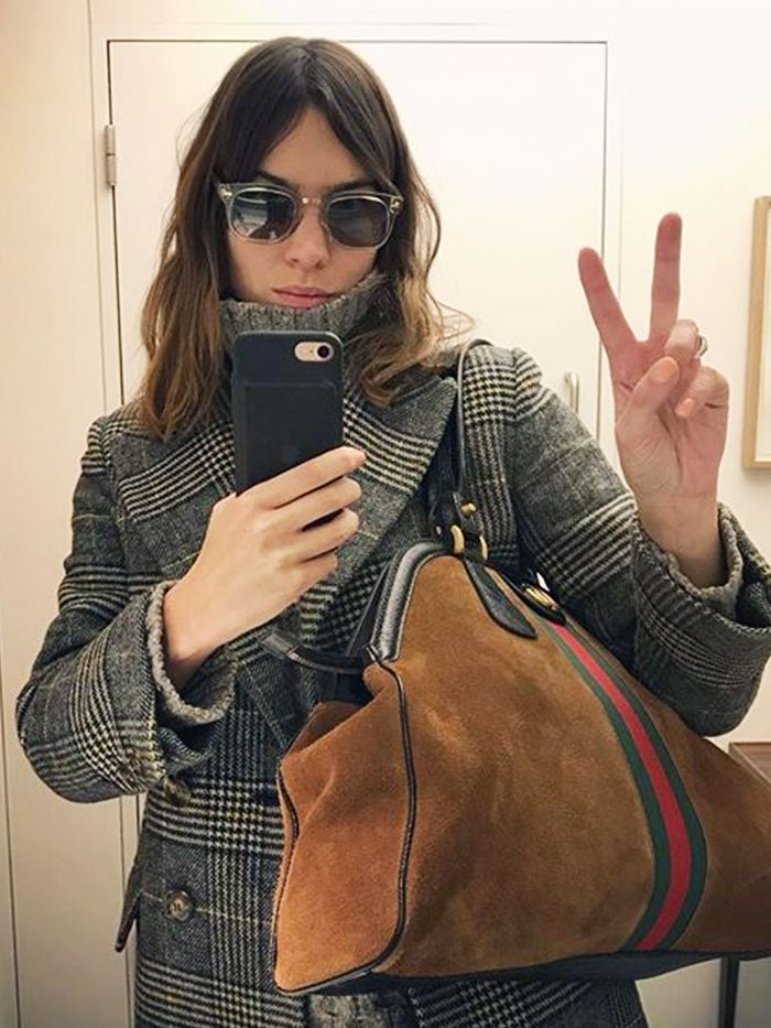 89ab098c856f Alexa Chung Still Isn t Over the Checked Coat Trend—and We re With Her