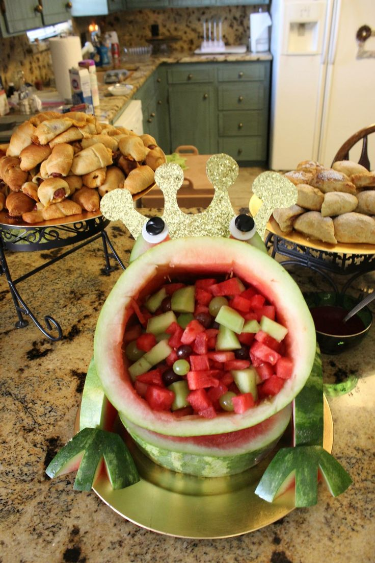 Leap Year Frog Party Food Ideas See More Carved Watermelon With A Crown For Landons Prince