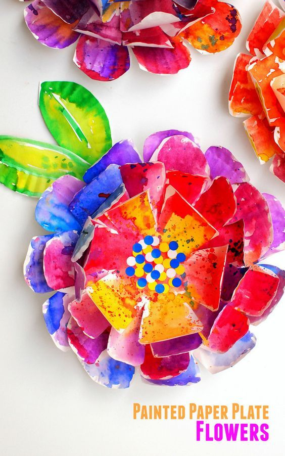 how to make beautiful, hyper-colorful flowers from paper plates- great kids art project for all ages!: