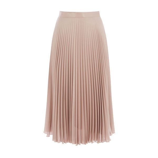 Warehouse Warehouse Foil Pleated Skirt Size 6 (570 HRK) ❤ liked on Polyvore featuring skirts, mink, party skirts, going out skirts, warehouse skirts, brown pleated skirt and brown skirt