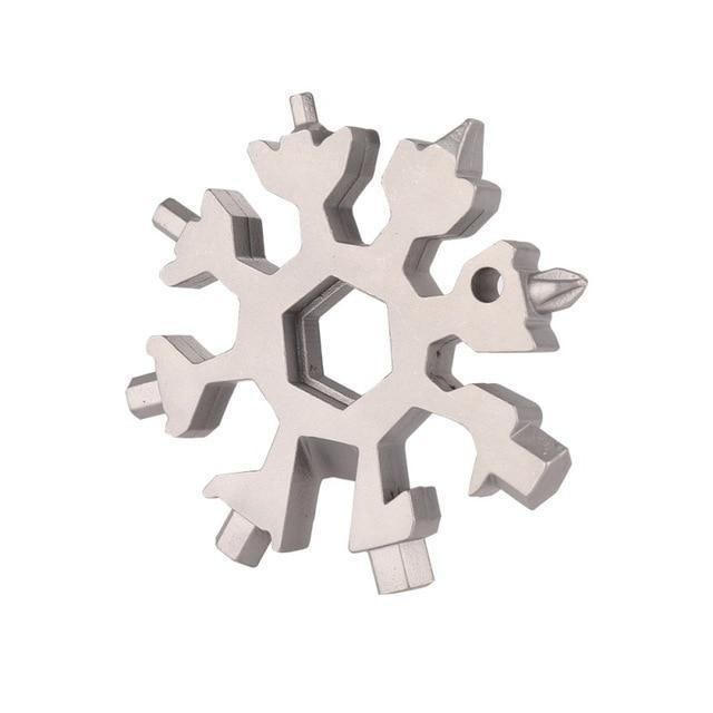 18 In 1 Stainless Tool Multi Tool Portable Snowflake Shape Key Chain Screwdriver
