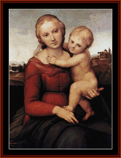 Madonna and Child (Raphael) cross stitch pattern. 250w x 335h. Get this beautiful pattern collection today at Cross Stitch Collectibles: http://xs-collectibles.com/prod-Madonna_and_Child-2052.aspx  25% OFF Store-wide at http://xs-collectibles.com. PLUS Buy2 -  Get 2 Free!  Good thru October 31, 2017 #DMC #Threads #crossStitch #etamin #embroidery #fabric #decorate #pattern #ornament