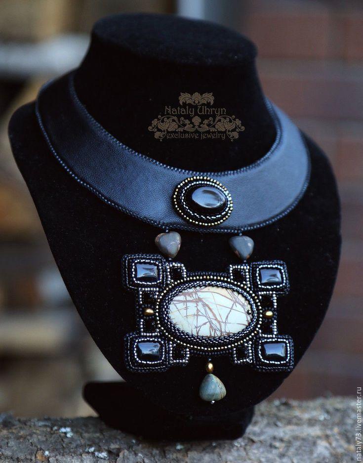 """Купить Колье """"Style"""" - черный, строгое украшение, строгое колье, стильный аксессуар, стильное украшение"""