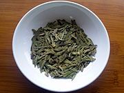 Longjing tea - Wikipedia. Also known as Dragon Well Chinese Green tea. My favourite Chinese green. Yum.