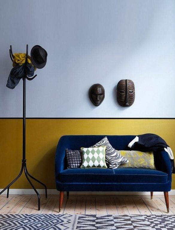 Mustard and Grey Half Coloured Designer Walls